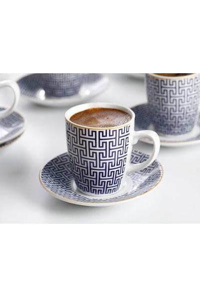 English Home Fiore Porselen 12 Parça Kahve Fincan Takımı 100 ml Mavi