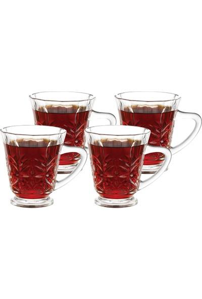 English Home Bells Cam 4'lü Kulplu Çay Bardağı 180 ml Şeffaf