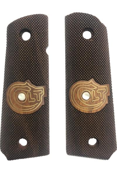 Arslantaş Colt 1911 Logolu Lazer Kesim Ahşap Kabze Mod 7