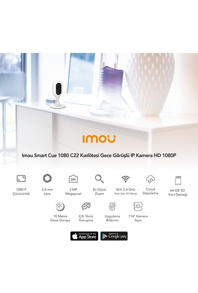 Imou Smart Cue 1080 C22 Kızılötesi Gece Görüşlü IP Kamera HD 1080P