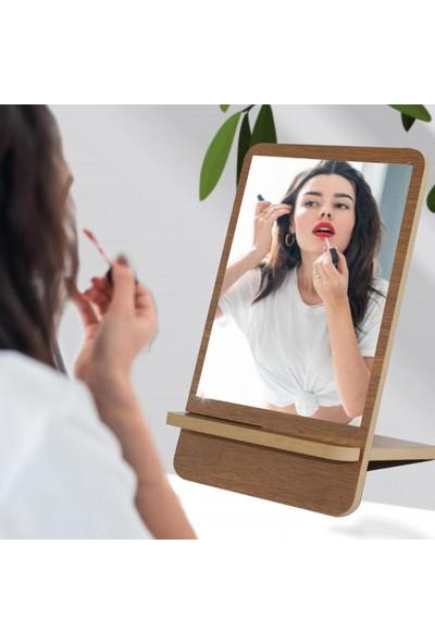 Ahşap Şehri Dekoratif Özel Tasarım Ahşap Masa Makyaj Aynası Ceviz