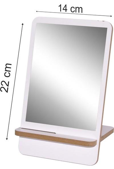 Ahşap Şehri Dekoratif Özel Tasarım Ahşap Masa Makyaj Aynası Beyaz
