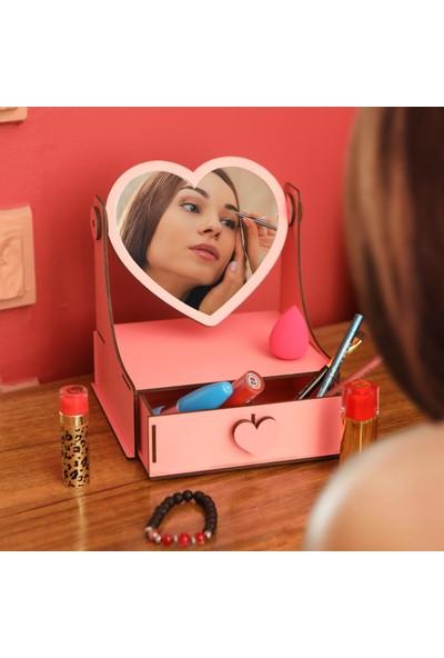 Ahşap Şehri Özel Tasarım Ahşap Aynalı Çekmeceli Mini Kozmetik Organizer