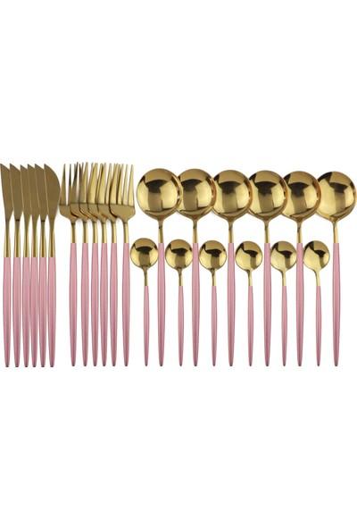 Beyaz Martı Çatal Kaşık Bıçak Seti 6 Kişilik Pembe Saplı Gold Altın 24 Parça