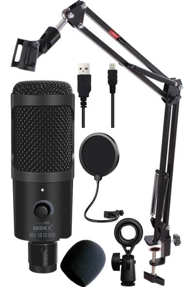 Midex Mx-1010 USB STA Bilgisayar PC Stüdyo Kayıt Mikrofon (Standlı Filtreli)