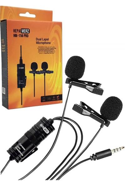 Hepa Merz HM-156 PRO Çiftli Yaka MikrofonuKamera Pc TelefonRöportaj (Android-İos Mac)