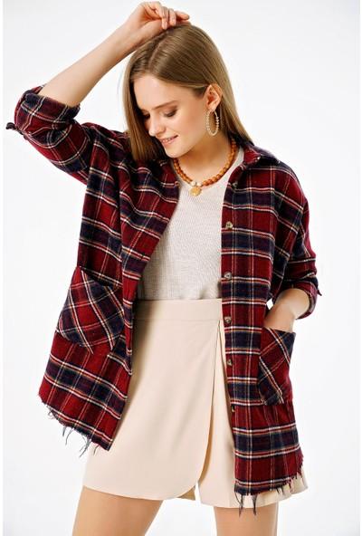 Şi̇mal Kadın Çift Cepli Ekoseli Oversize Oduncu Gömlek Bordo M