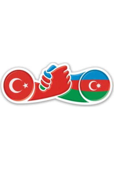 Otografik Azerbaycan Türkiye El Ele Bayrak Oto Sticker