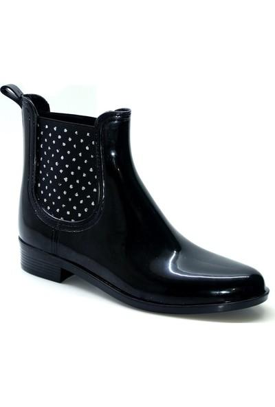 Cushy Rain Siyah Rugan Simli Plastik Su Geçirmez Yağmur Botu