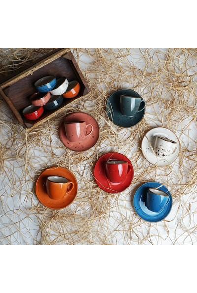 Tulu Porselen 18 Parça Luna Mix Lokumluklu 6 Kişilik Kahve Fincan Takımı