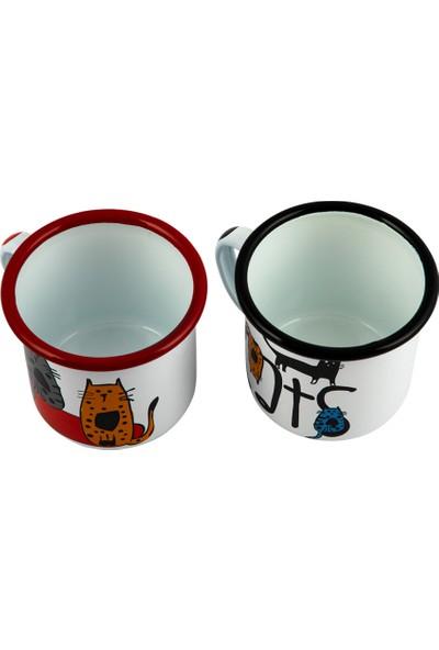 Biggdesign Cats 2'li Emaye Kupa Seti
