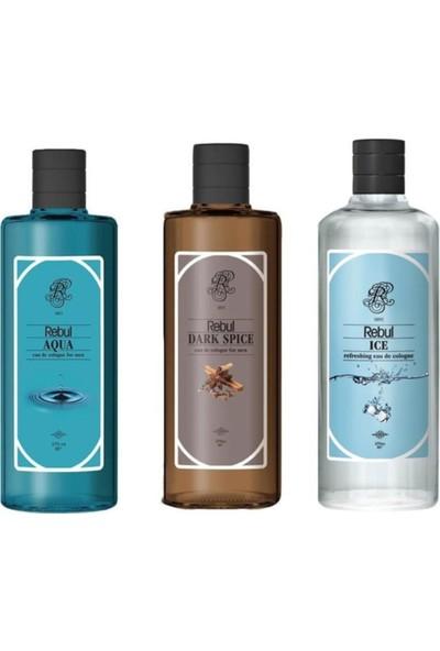 Rebul Kolonya Erkeklere Özel Set 270 ml 3'lü Dark Spice + Ice + Aqua
