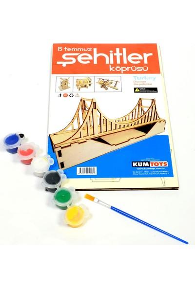 Kumtoys 15 Temmuz Şehitler Köprüsü Desenli Ahşap Maket Boyama