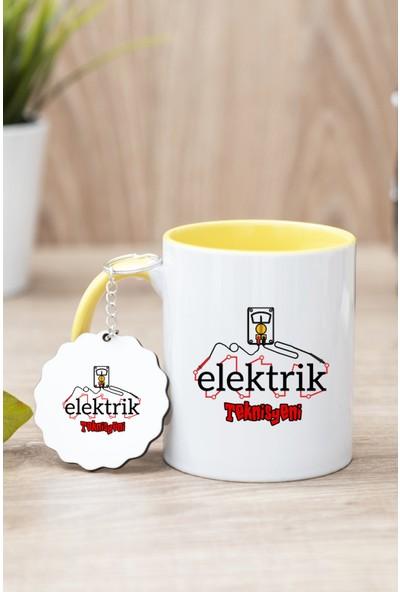 Hediye Dükkanı Elektrik Teknisyeni Sarı Kupa Bardak ve Anahtarlık