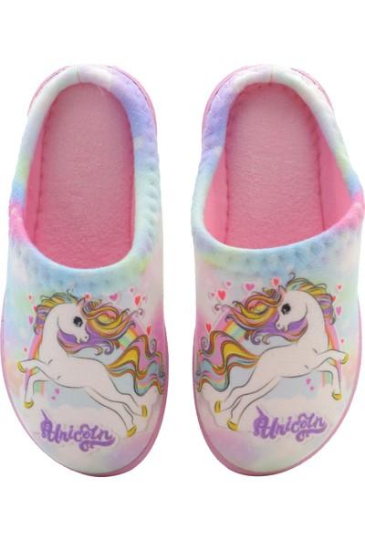 Kids World Unicorn Desen Kız Çocuk Ev Terliği