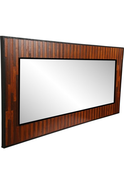 Dfn Wood Doğal Ahşap Dikdörtgen Dekoratif Duvar Salon Ofis Aynası(Piyano Model)
