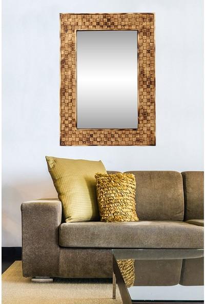Dfn Wood Doğal Ahşap Dikdörtgen Dekoratif Duvar Salon Ofis Aynası(Yakmalı)