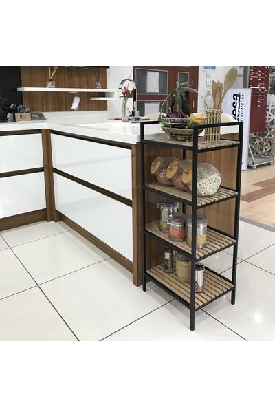 Mudesa Ahşap Mutfak Rafı Baharatlık Terek Raf 4 Katlı