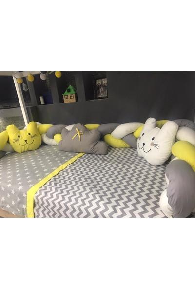 Mini Baby 3'lü Örgülü Sarı Montessori Bebek Çocuk Uyku Seti