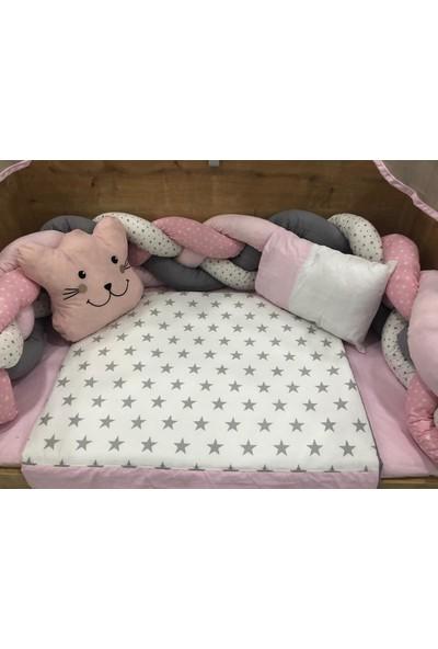Mini Baby Örgülü Pembe Cibinlikli Bebek Uyku Seti