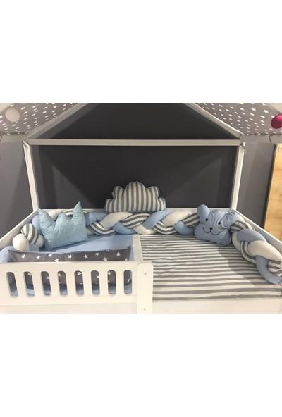 Mini Baby 3'lü Örgülü Mavi Montessori Bebek Çocuk Uyku Seti