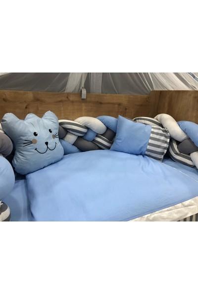 Mini Baby Örgülü Mavi Cibinlikli Bebek Uyku Seti