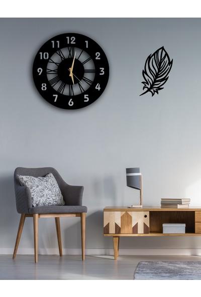 Dekoratif Duvar Saati 50 cm + Yapraklı Tablo