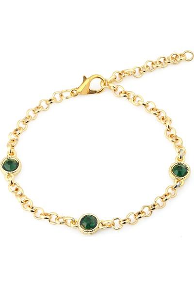 Forentina Altın Kaplama Yeşil Taşlı Bileklik