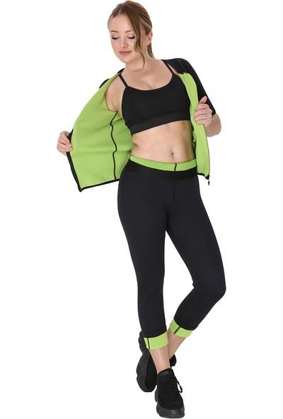 Giyincel Bayan Neopren Termal Kısa Kollu Fermuarlı Spor Ve Terletme Body Ve Uzun Tayt Set