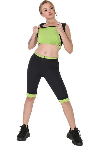 Giyincel Bayan Neopren Termal Spor Ve Terletme Atleti Ve Dizaltı Tayt Set