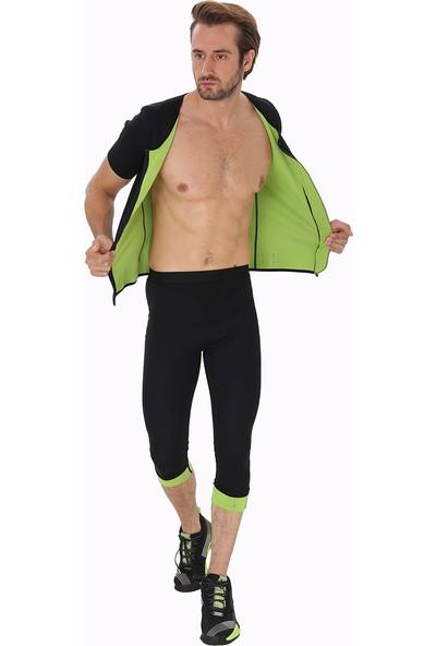 Giyincel Erkek Neopren Termal Kısa Kollu Fermuarlı Spor Ve Terletme Body Ve Uzun Tayt Set
