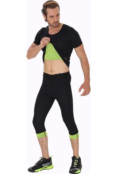 Giyincel Erkek Neopren Termal Kısa Kollu Spor Ve Terletme Tişörtü Ve Uzun Tayt Set