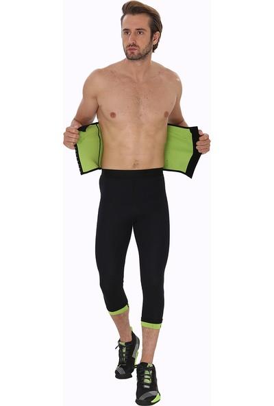 Giyincel Erkek Neopren Termal Spor Ve Terletme Bel Korsesi Ve Uzun Tayt Set