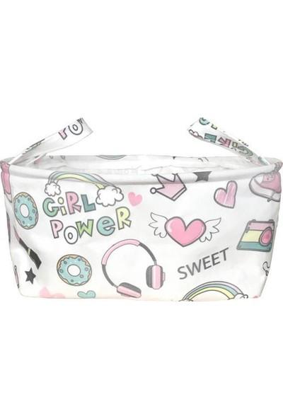 Housepack Sweet-Sevimli Baskılı Çocuk Odası Silindir Kumaş Sepet