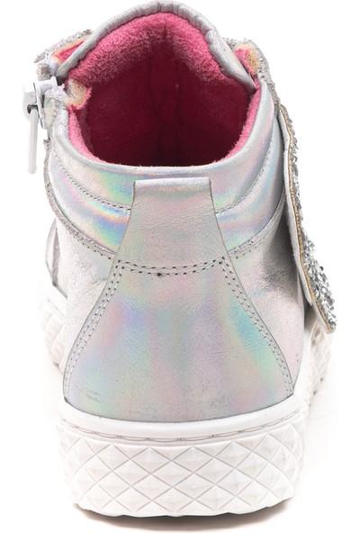Minipicco Kız Çocuk Gümüş Deri Bot