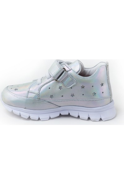 Minipicco Kız Çocuk Gümüş Deri Ayakkabı