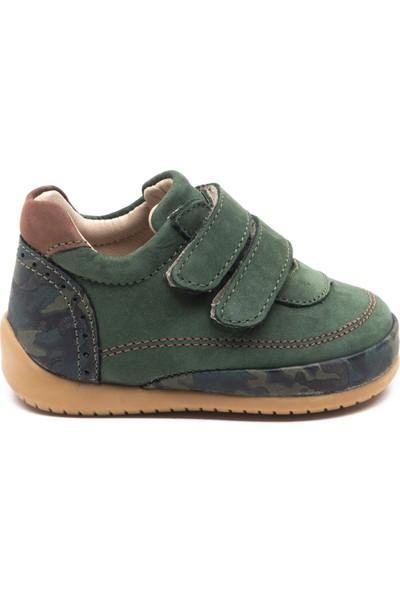 Minipicco Bebek Haki Deri İlk Adım Ayakkabı