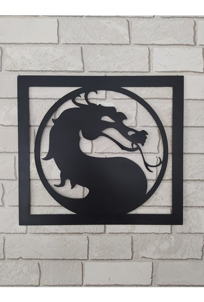 Mortal Kombat Oyunu Logosu Siyah Sac Çerçeveli 27 x 30 cm Tablosu -Çift Taraflı Bant Ile