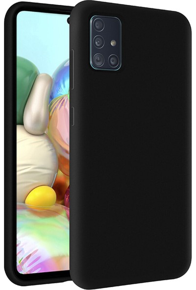 Prasmet Samsung Galaxy A71 Kılıf Cilt Dokulu Liquid Silicone Içleri Süet Kaplama