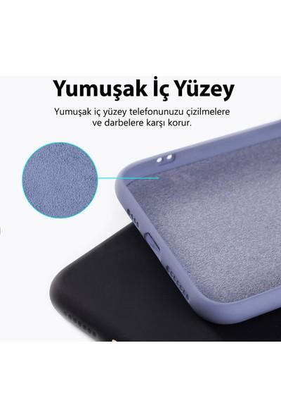 Prasmet Samsung Galaxy A51 Kılıf Cilt Dokulu Liquid Silicone Içleri Süet Kaplama