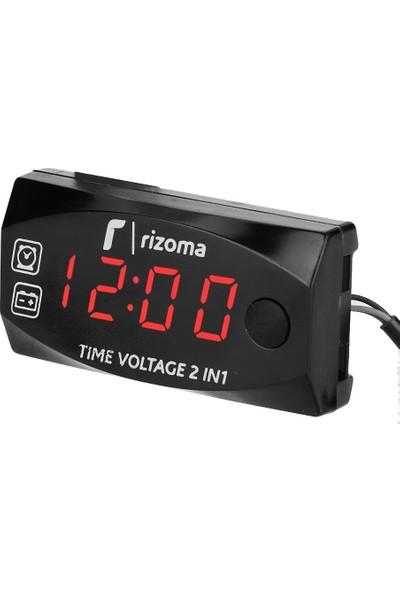 Rizoma Voltaj ve Saat Göstergeli Dijital Voltmetre Kırmızı LED