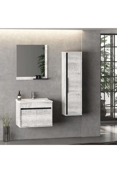 Nplus Kona Banyo Dolabı 65CM Antik Beyaz (Alt Modül + Üst Modül + Lavabo)