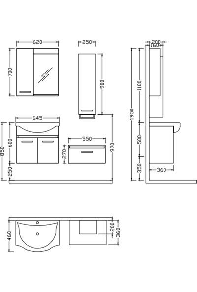 Nplus Alia 65 cm Banyo Dolabı Antrasit Meşe (Alt Modül + Üst Modül + Lavabo)