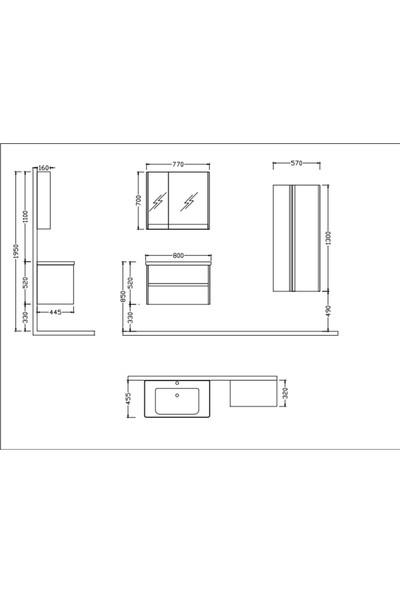 Nplus Jetta 80 cm Banyo Dolabı Söğüt (Alt Modül + Üst Modül + Lavabo)