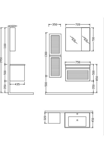 Nplus Megane 75 cm Banyo Dolabı Beyaz Alt Modül + Üst Modül + Lavabo