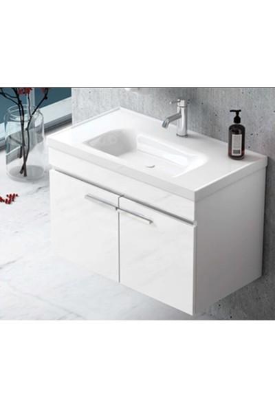 Nplus Storm 80 cm Banyo Dolabı Beyaz (Alt Modül + Üst Modül + Lavabo)