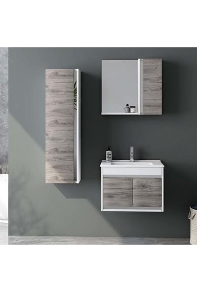 Nplus Tigra 65 cm Banyo Dolabı Beyaz - Alman Meşe (Alt Modül + Üst Modül + Lavabo)