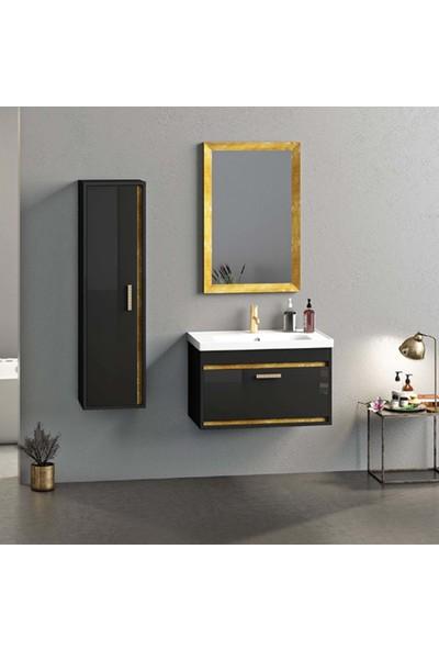 Nplus Talisman 80 cm Banyo Dolabı Siyah - Altın (Alt Modül + Altın Renk Çerçeveli Ayna + Lavabo)