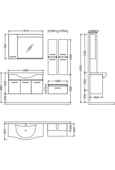 Nplus Alia 100 cm Banyo Dolabı Beyaz (Alt Modül + Üst Modül + Lavabo)