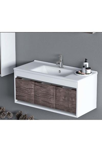 Nplus Tigra 100 cm Banyo Dolabı Beyaz Antik Dark (Alt Modül + Üst Modül + Lavabo)
